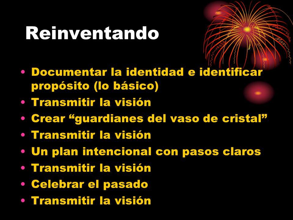Reinventando Documentar la identidad e identificar propósito (lo básico) Transmitir la visión. Crear guardianes del vaso de cristal
