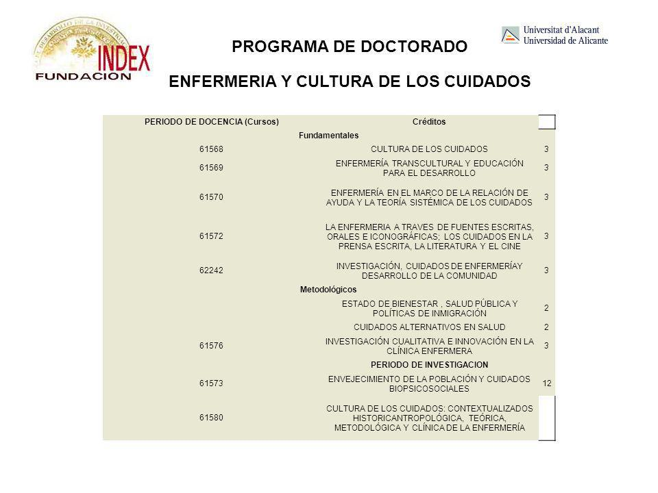PROGRAMA DE DOCTORADO ENFERMERIA Y CULTURA DE LOS CUIDADOS
