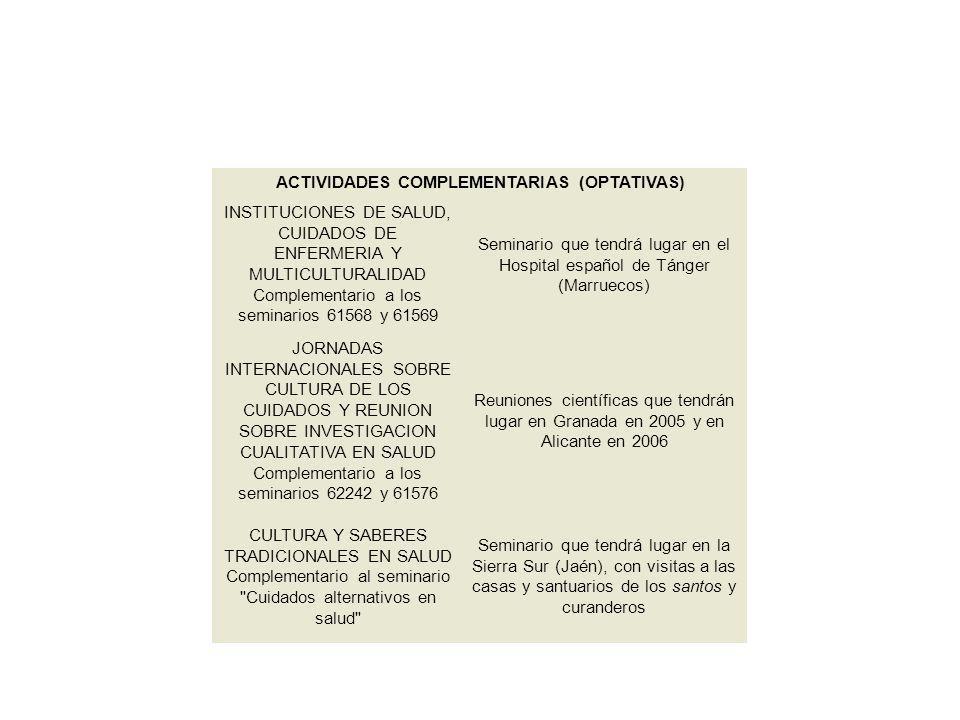 ACTIVIDADES COMPLEMENTARIAS (OPTATIVAS)