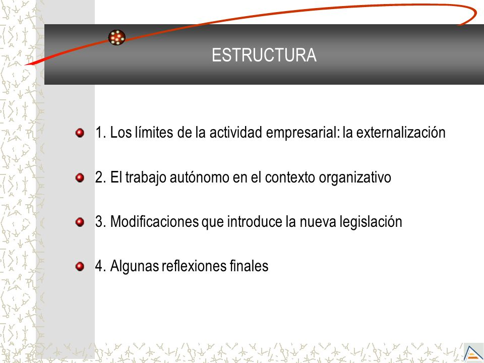 ESTRUCTURA 1. Los límites de la actividad empresarial: la externalización. 2. El trabajo autónomo en el contexto organizativo.