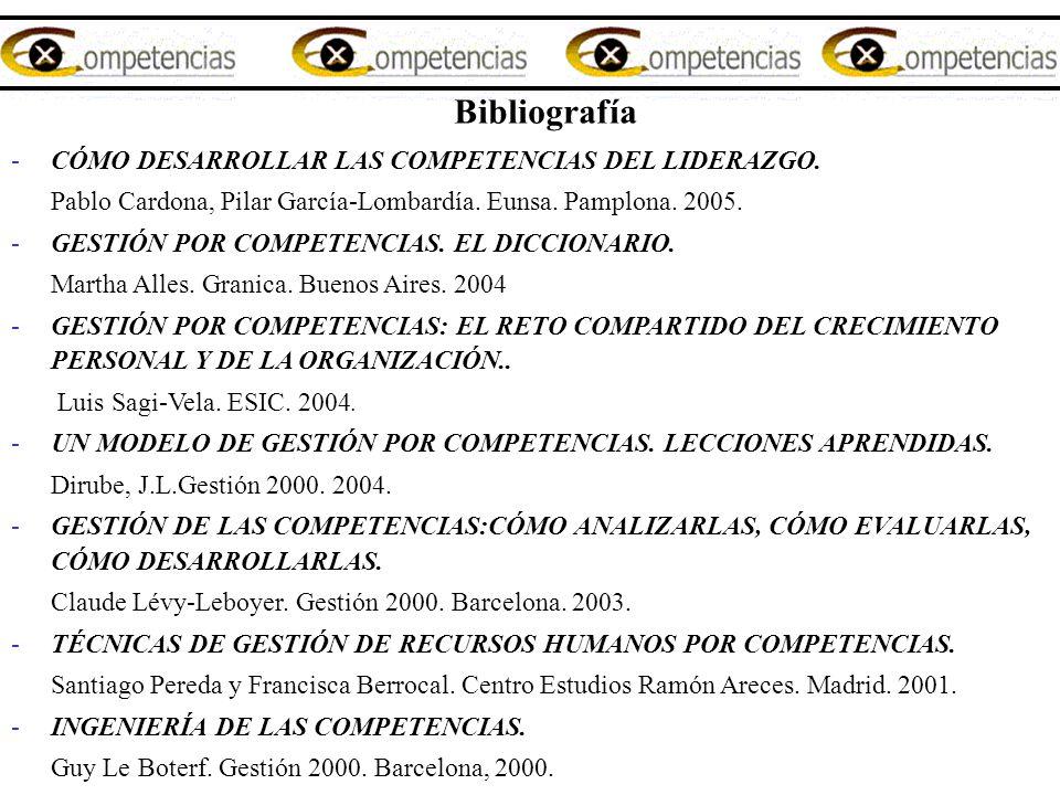 Bibliografía CÓMO DESARROLLAR LAS COMPETENCIAS DEL LIDERAZGO.