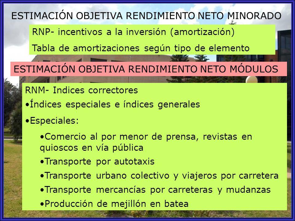 ESTIMACIÓN OBJETIVA RENDIMIENTO NETO MINORADO