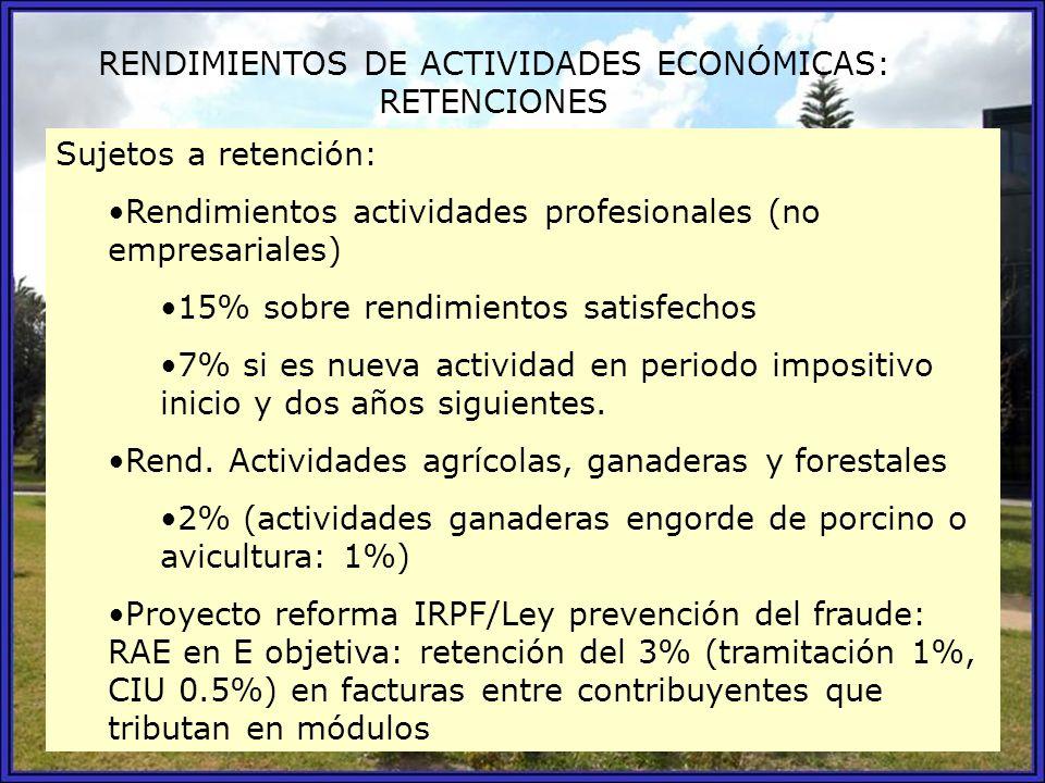 RENDIMIENTOS DE ACTIVIDADES ECONÓMICAS: RETENCIONES