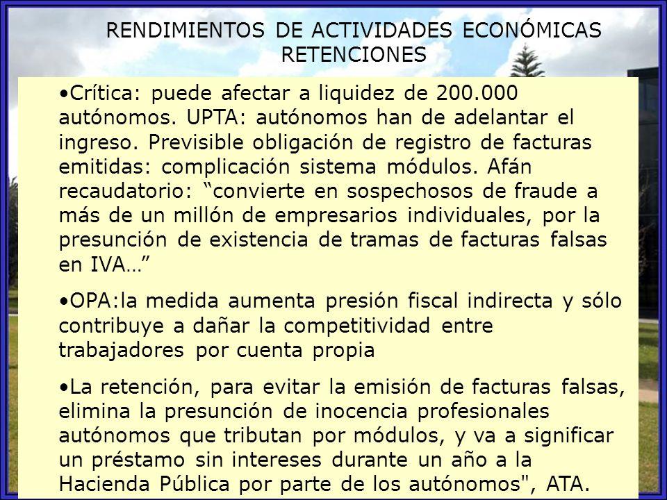 RENDIMIENTOS DE ACTIVIDADES ECONÓMICAS RETENCIONES