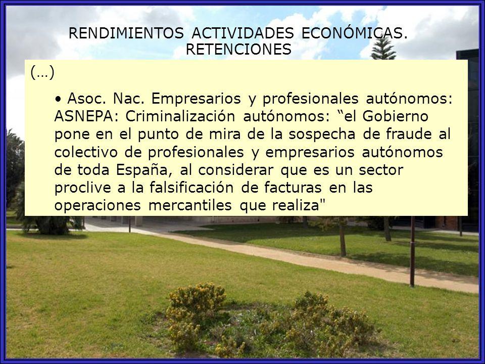 RENDIMIENTOS ACTIVIDADES ECONÓMICAS.