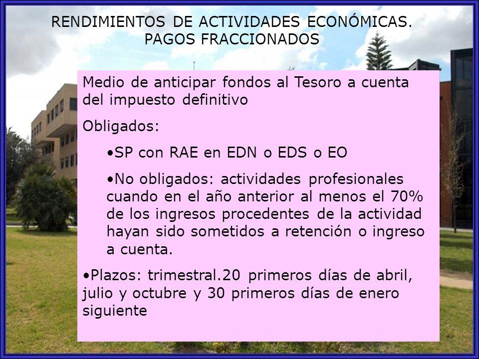 RENDIMIENTOS DE ACTIVIDADES ECONÓMICAS. PAGOS FRACCIONADOS