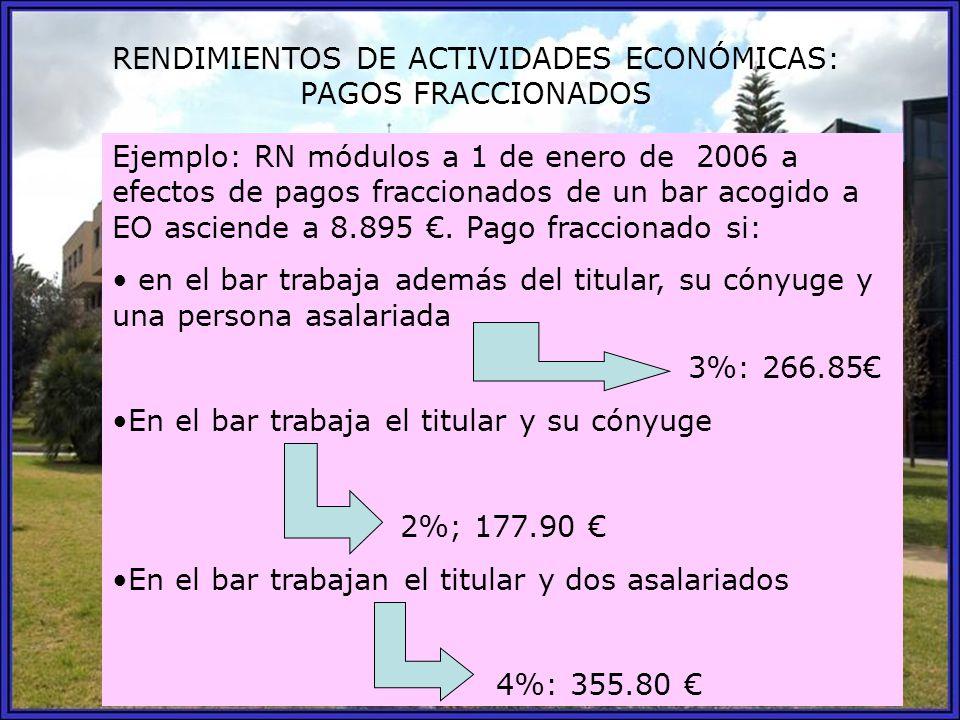 RENDIMIENTOS DE ACTIVIDADES ECONÓMICAS: PAGOS FRACCIONADOS