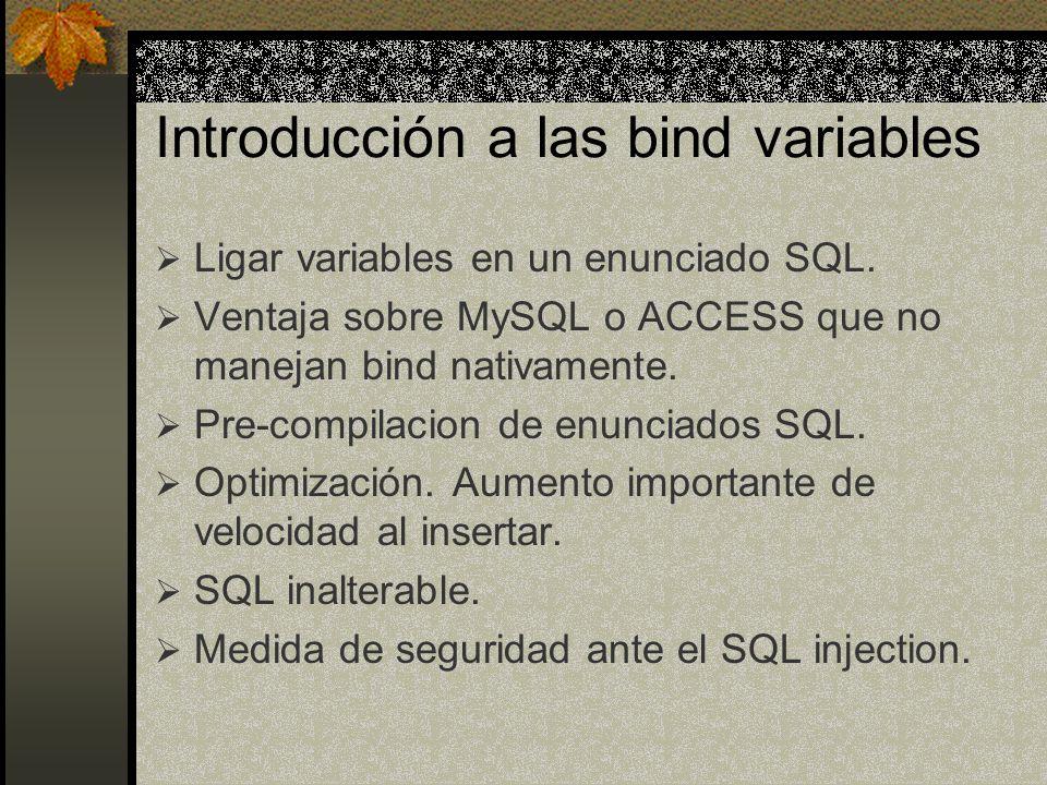 Introducción a las bind variables