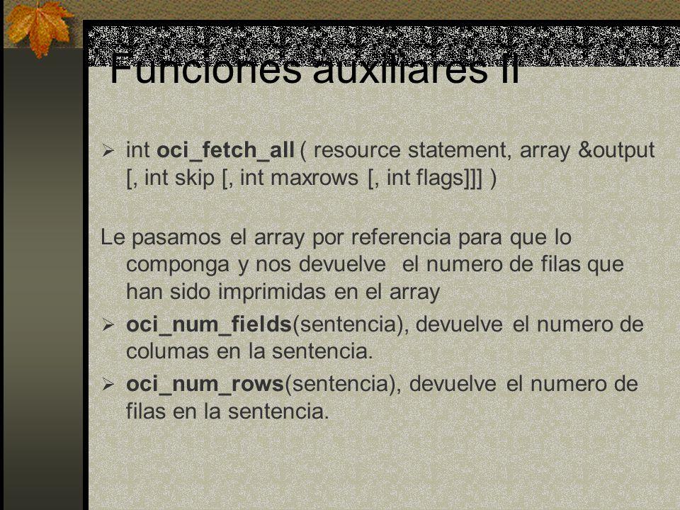 Funciones auxiliares II