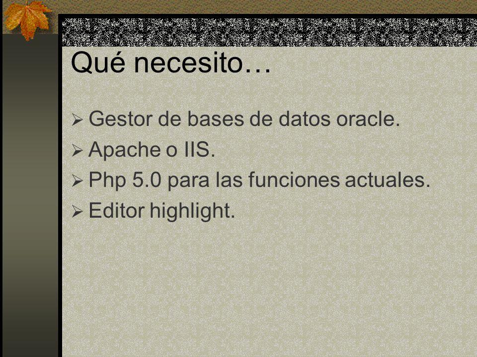 Qué necesito… Gestor de bases de datos oracle. Apache o IIS.