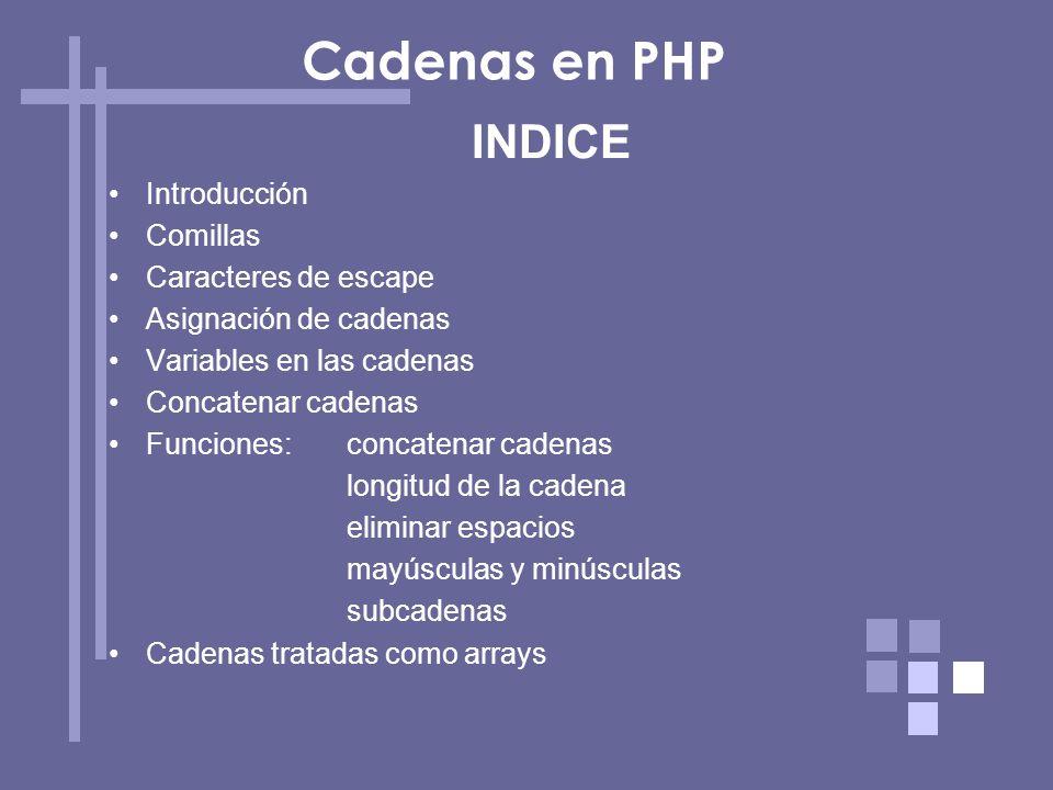 Cadenas en PHP INDICE Introducción Comillas Caracteres de escape