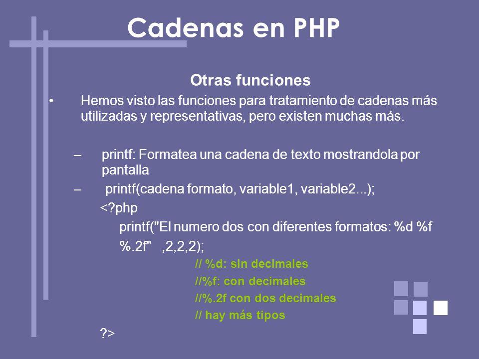 Cadenas en PHP Otras funciones