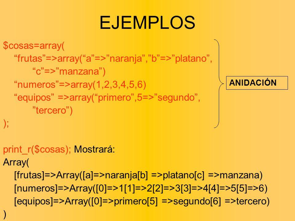 EJEMPLOS $cosas=array(
