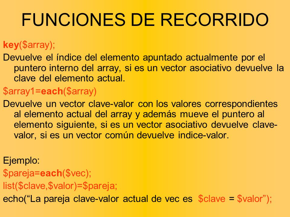 FUNCIONES DE RECORRIDO