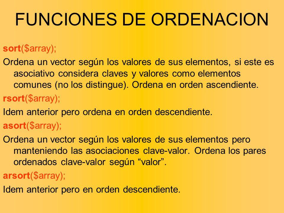 FUNCIONES DE ORDENACION