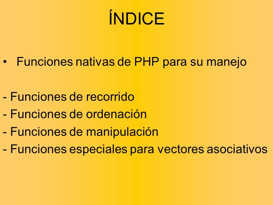 ÍNDICE Funciones nativas de PHP para su manejo