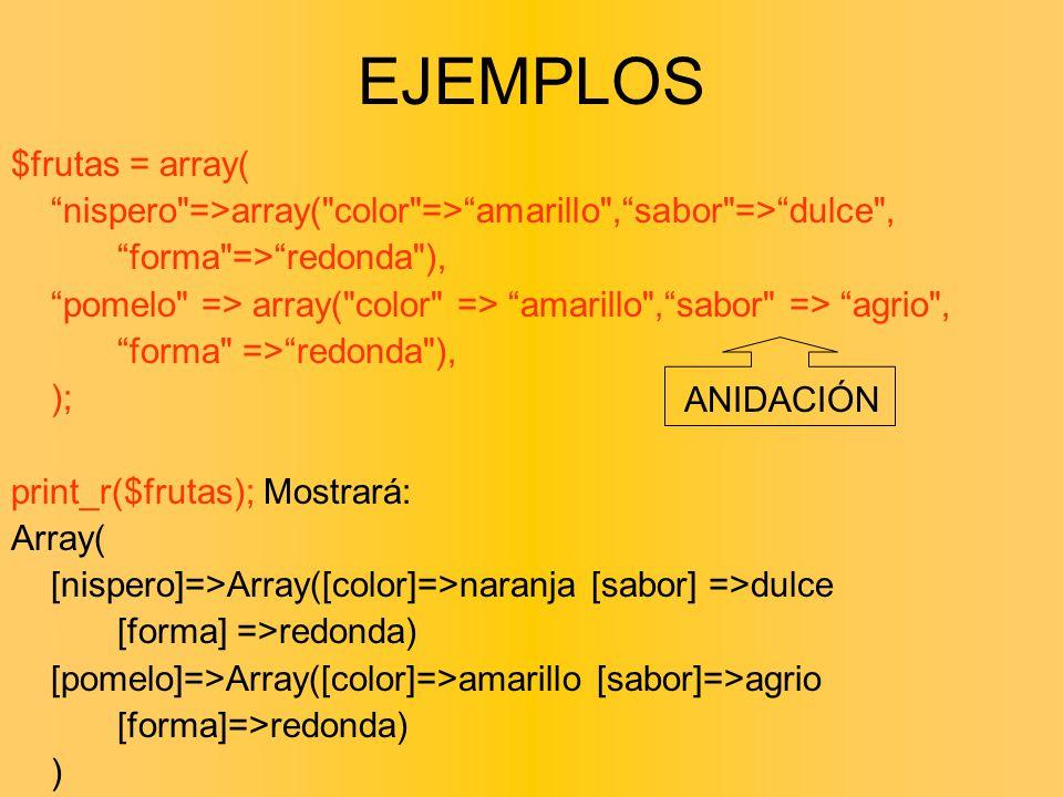 EJEMPLOS $frutas = array(
