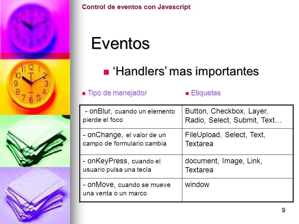 Eventos 'Handlers' mas importantes