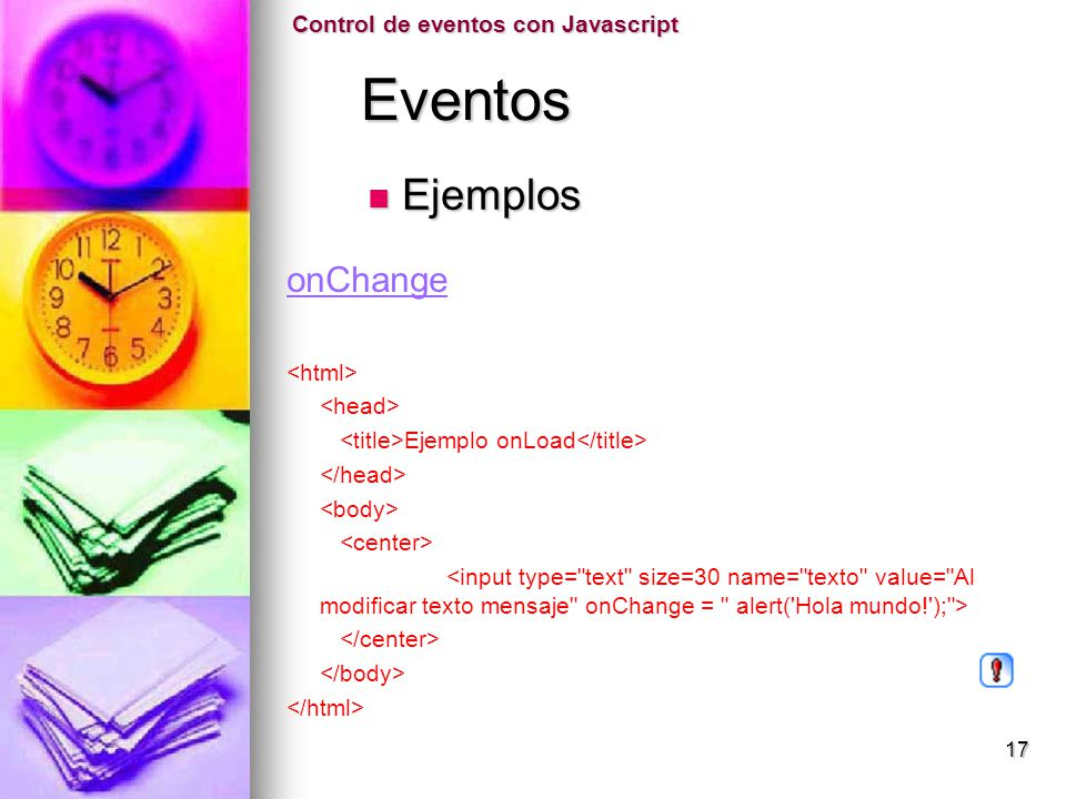 Eventos Ejemplos onChange Control de eventos con Javascript