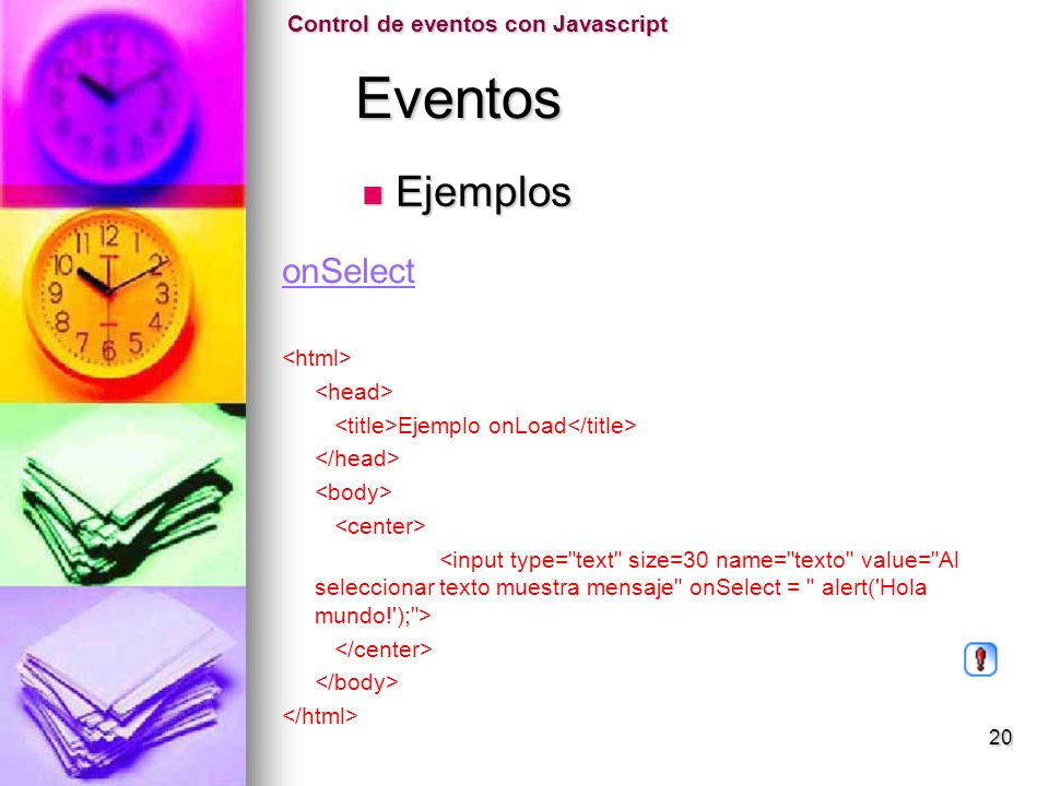 Eventos Ejemplos onSelect Control de eventos con Javascript