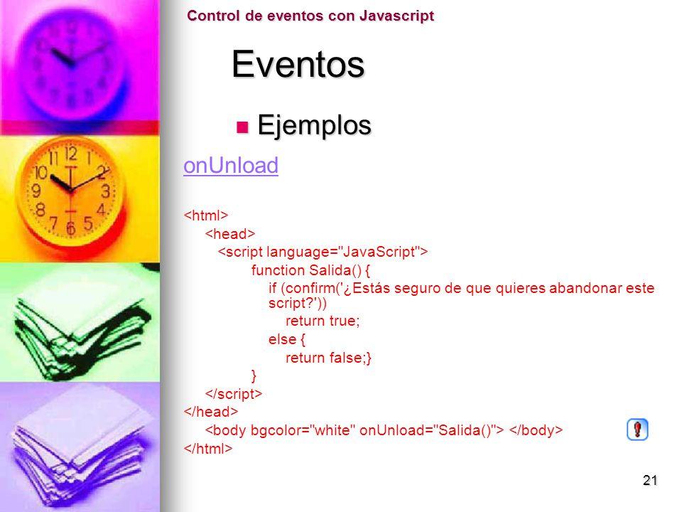Eventos Ejemplos onUnload Control de eventos con Javascript