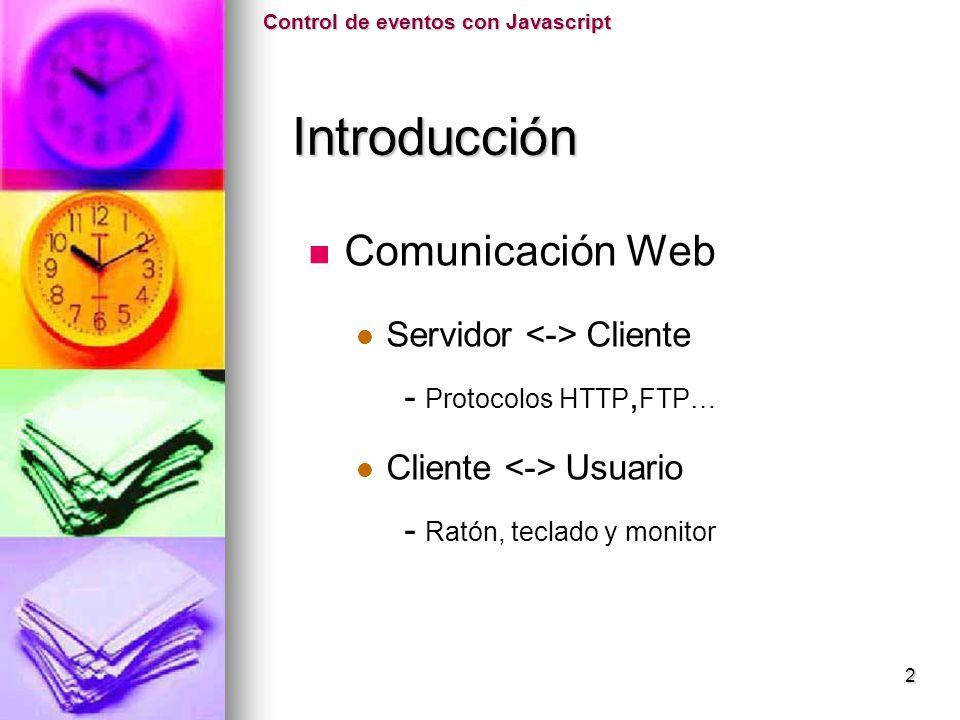 Introducción Comunicación Web Servidor <-> Cliente