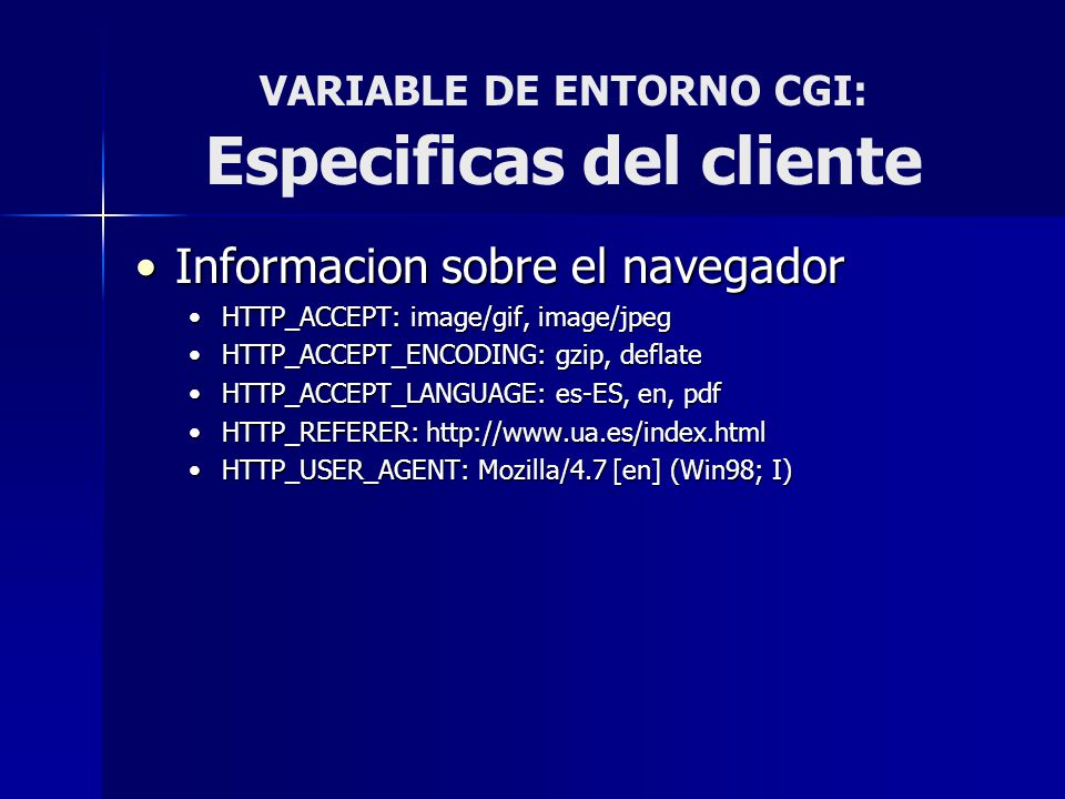 VARIABLE DE ENTORNO CGI: Especificas del cliente