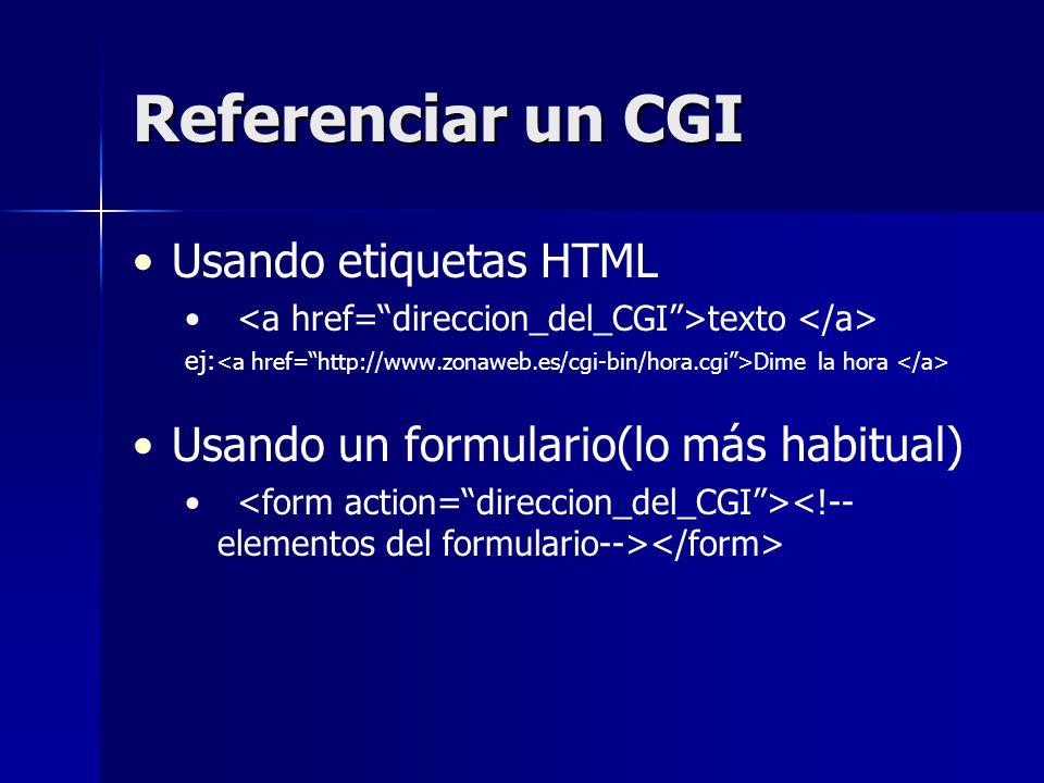 Referenciar un CGI Usando etiquetas HTML