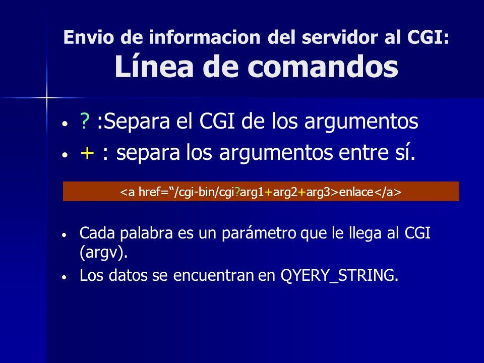 Envio de informacion del servidor al CGI: Línea de comandos