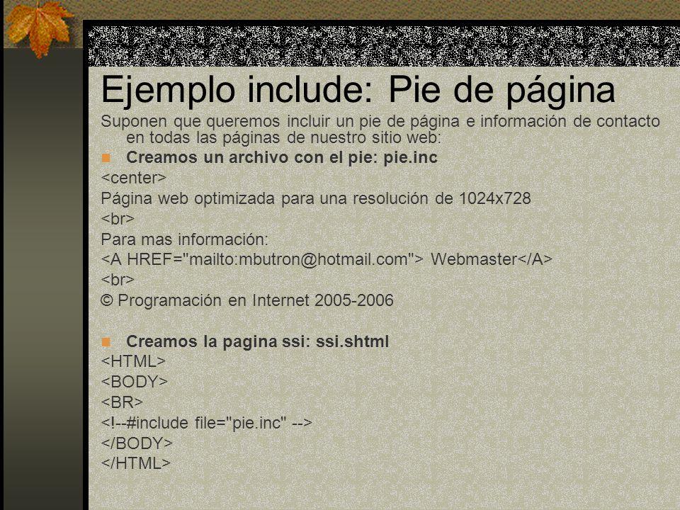 Ejemplo include: Pie de página