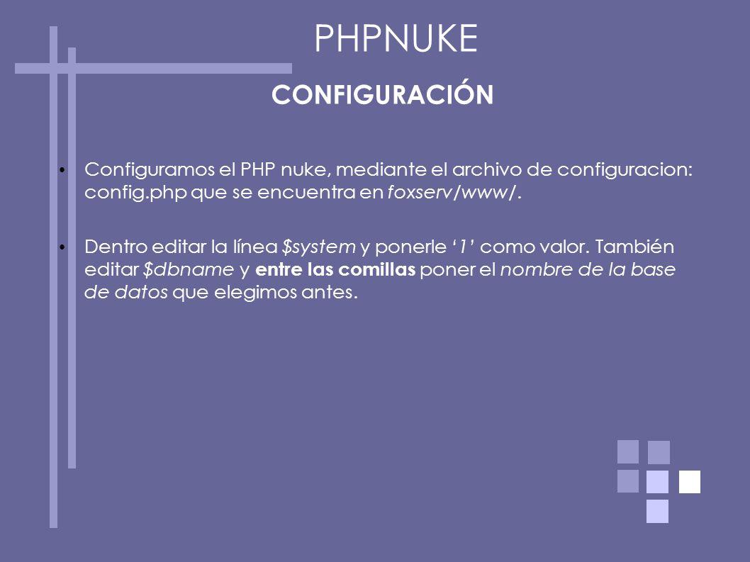PHPNUKE CONFIGURACIÓN