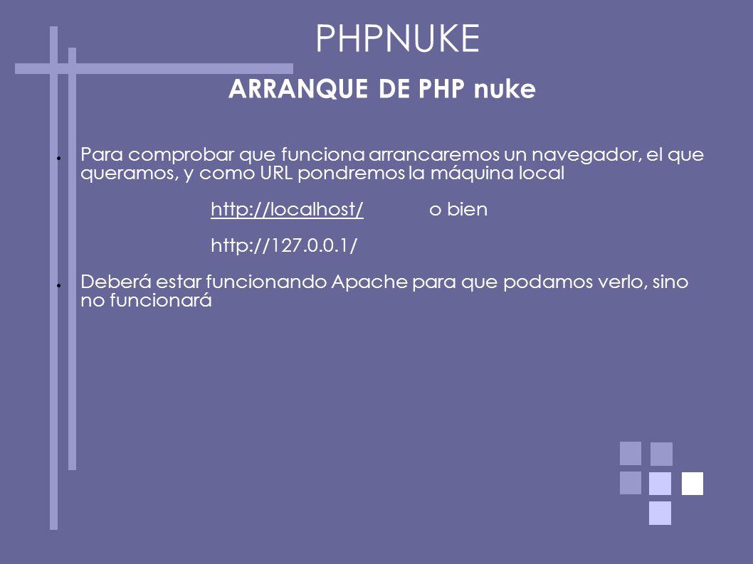 PHPNUKE ARRANQUE DE PHP nuke