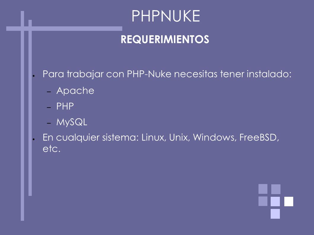 PHPNUKE REQUERIMIENTOS