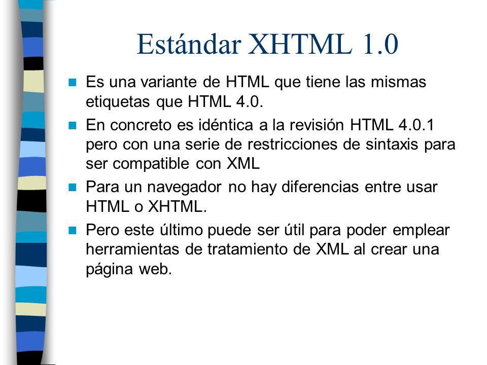 Estándar XHTML 1.0 Es una variante de HTML que tiene las mismas etiquetas que HTML 4.0.
