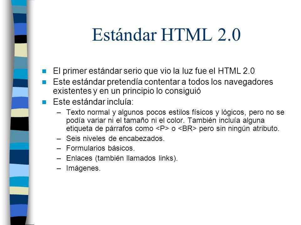 Estándar HTML 2.0 El primer estándar serio que vio la luz fue el HTML 2.0.