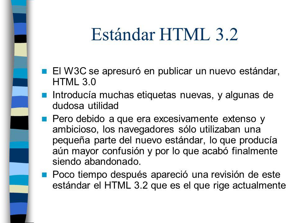 Estándar HTML 3.2 El W3C se apresuró en publicar un nuevo estándar, HTML 3.0. Introducía muchas etiquetas nuevas, y algunas de dudosa utilidad.