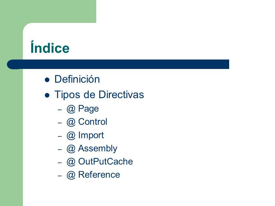 Índice Definición Tipos de Directivas @ Page @ Control @ Import