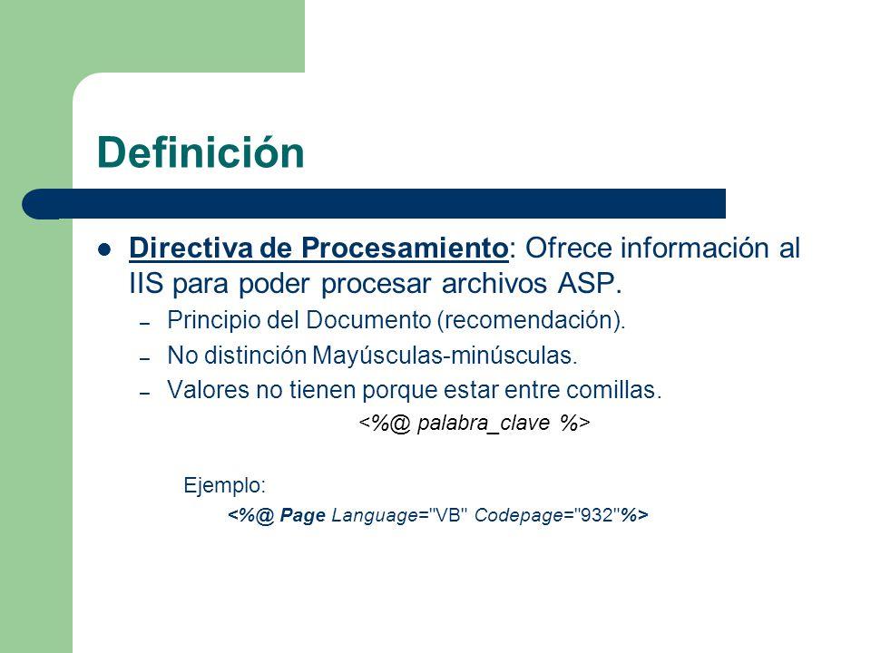 Definición Directiva de Procesamiento: Ofrece información al IIS para poder procesar archivos ASP. Principio del Documento (recomendación).