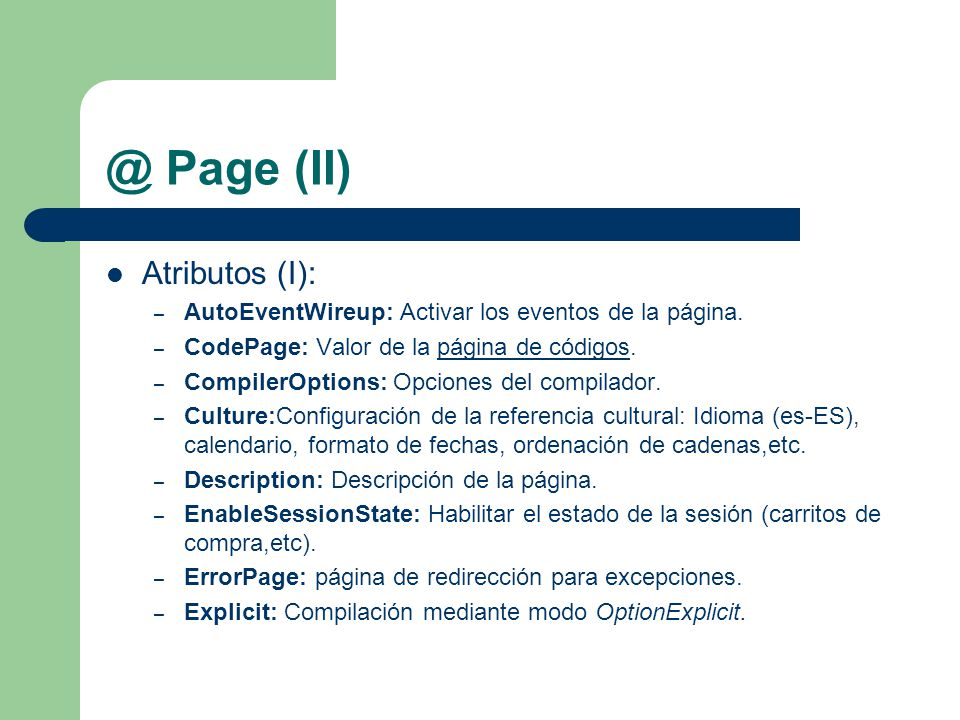 @ Page (II) Atributos (I):