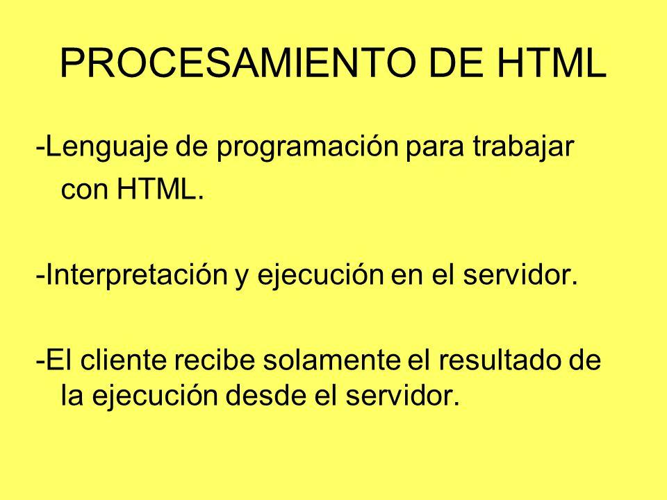 PROCESAMIENTO DE HTML -Lenguaje de programación para trabajar