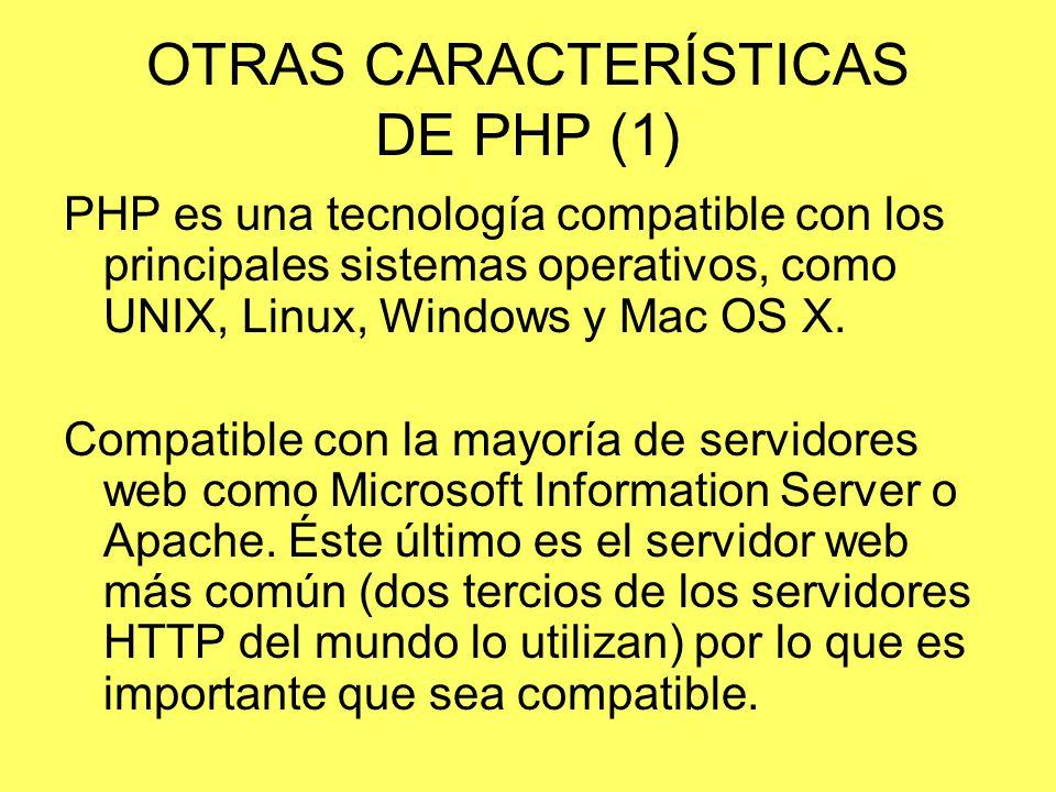OTRAS CARACTERÍSTICAS DE PHP (1)