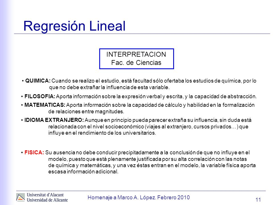 Regresión Lineal INTERPRETACION Fac. de Ciencias
