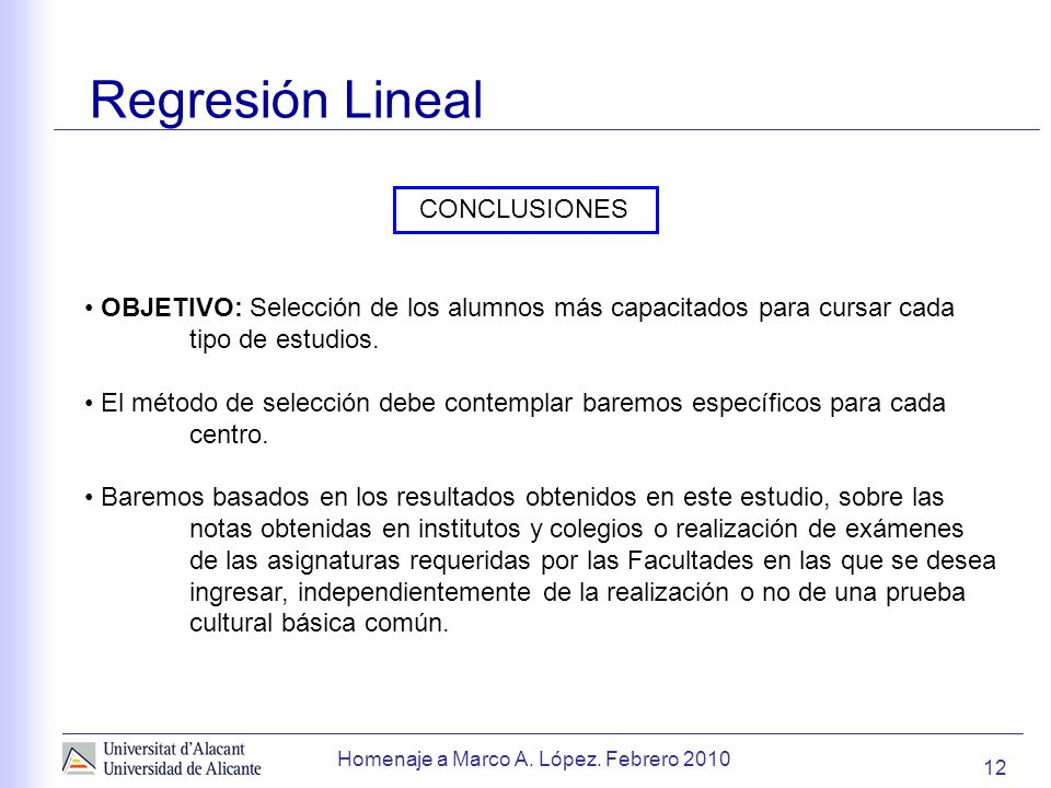 Regresión Lineal CONCLUSIONES