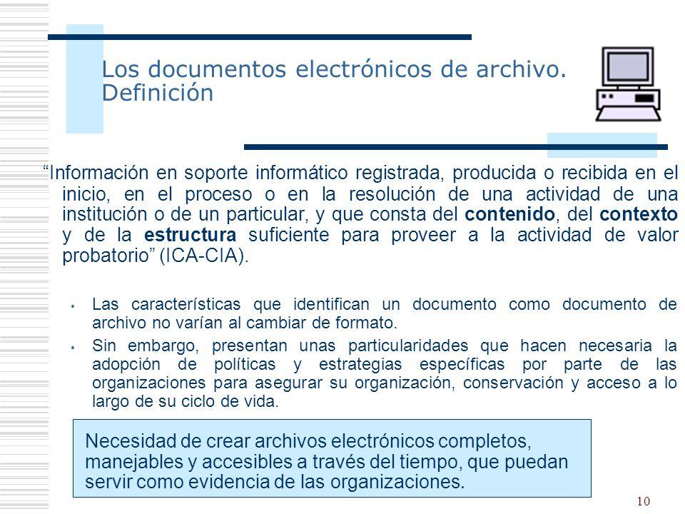 Los documentos electrónicos de archivo. Definición