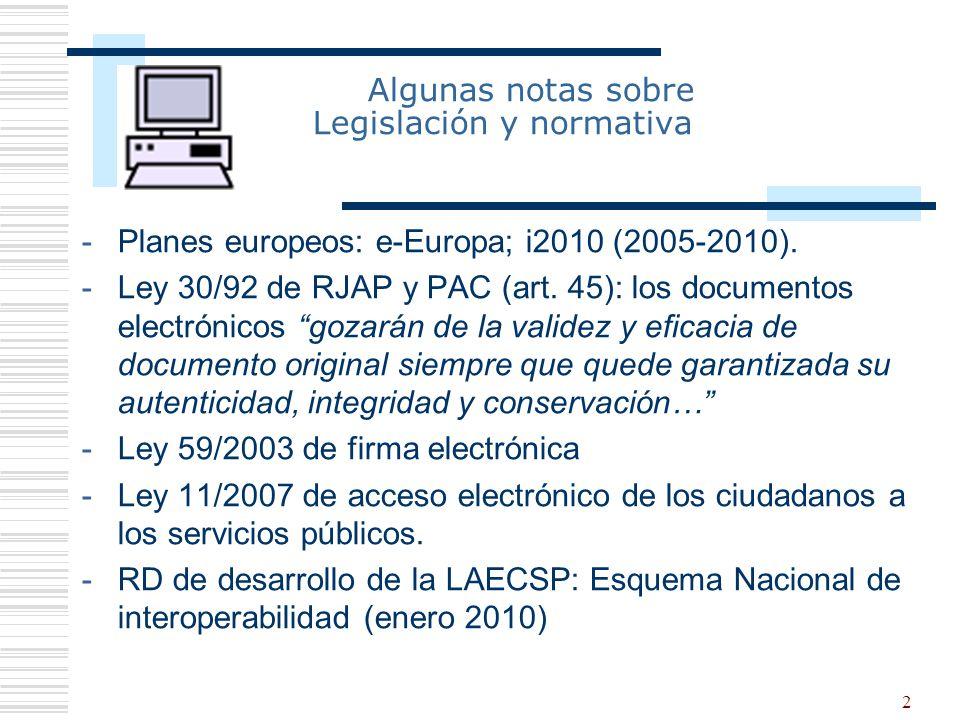 Algunas notas sobre Legislación y normativa
