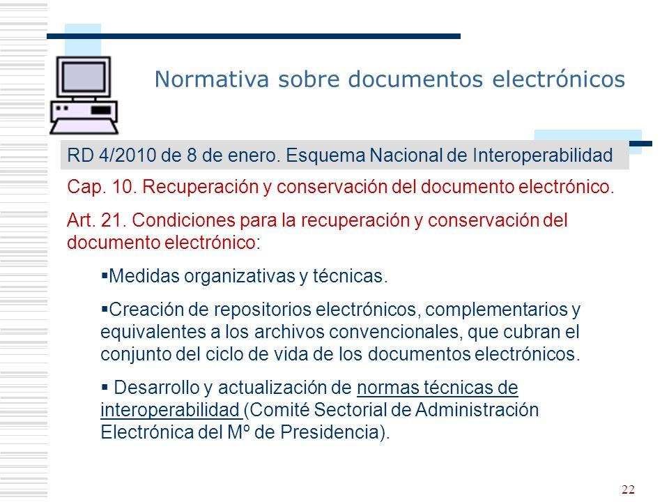 Normativa sobre documentos electrónicos