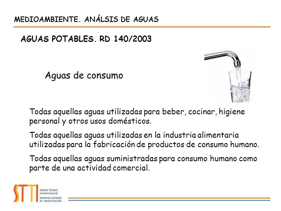 Aguas de consumo AGUAS POTABLES. RD 140/2003