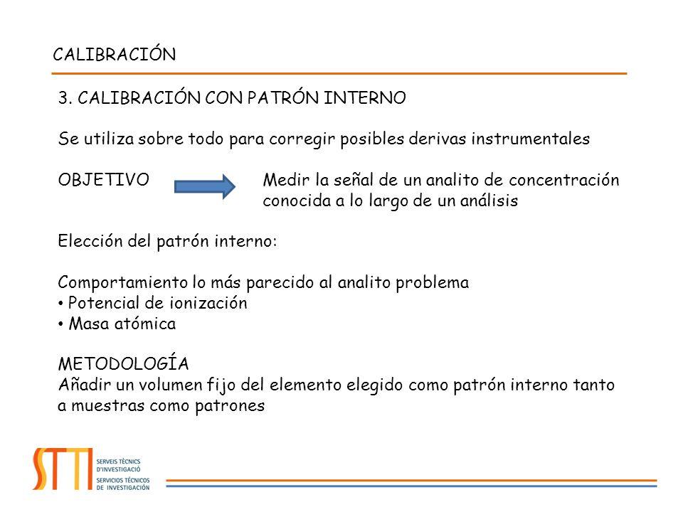 CALIBRACIÓN 3. CALIBRACIÓN CON PATRÓN INTERNO. Se utiliza sobre todo para corregir posibles derivas instrumentales.