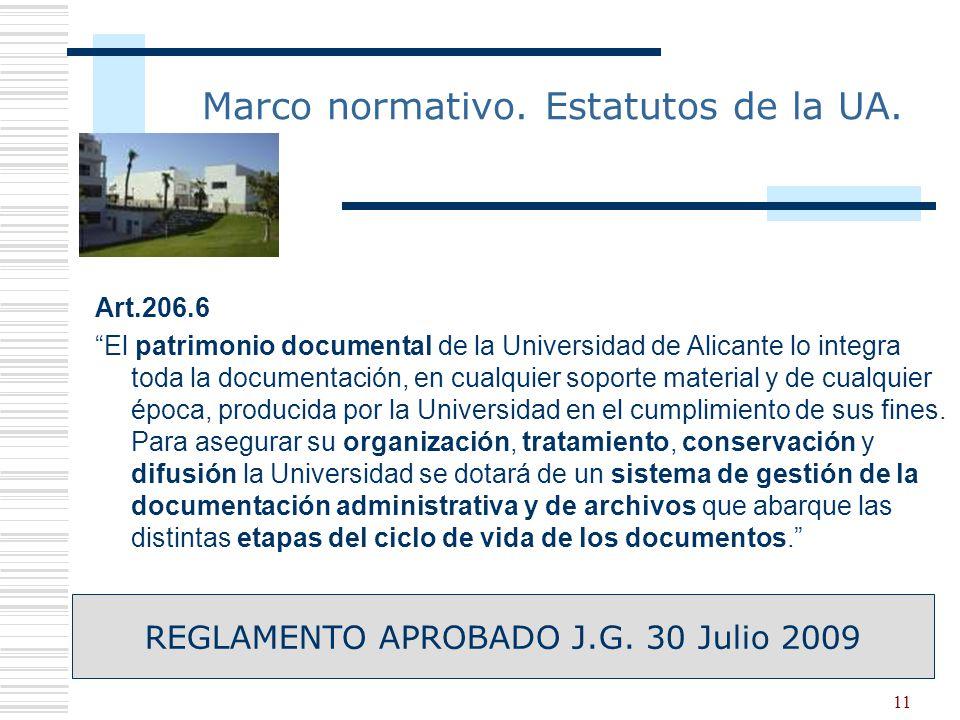 Marco normativo. Estatutos de la UA.