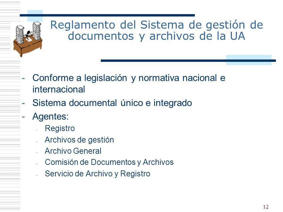 Reglamento del Sistema de gestión de documentos y archivos de la UA